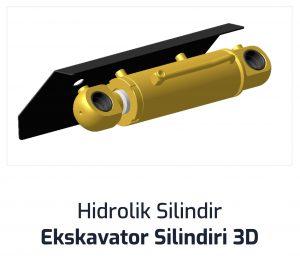 Hidrolik Silindir Ekskavator Silindiri 3D
